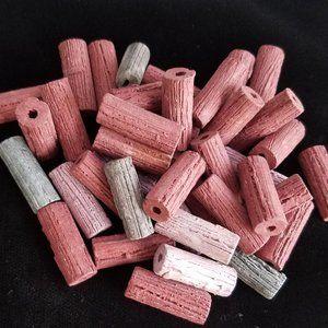 40 clay BEADS handmade tubes natural